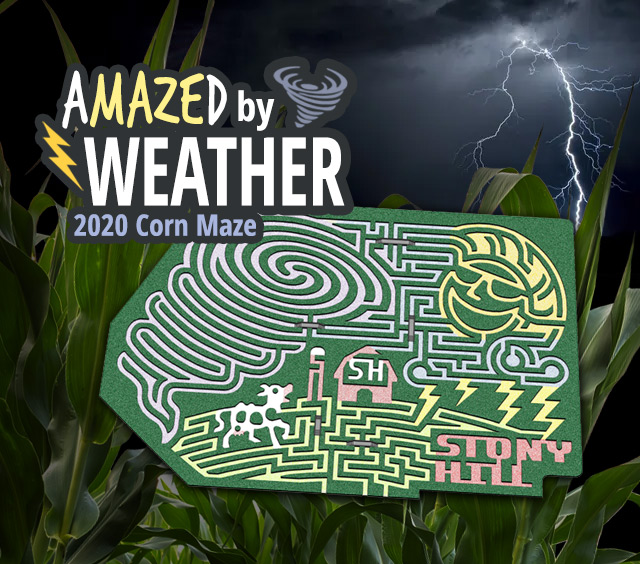 2020 Stony Hill Corn Maze Theme Design: aMAZEd by Weather